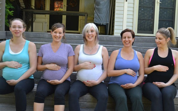 Five mums in pregnancy exercise class