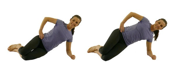 Prenatal exercise elbow to knee side plank