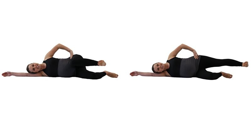 Prenatal online Exercise 4: Side Lying Bicycles. Prenatal fitness exercise